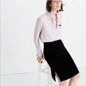 Madwell Black Velvet Pencil Skirt
